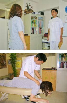 姿勢分析と僧帽筋の検査