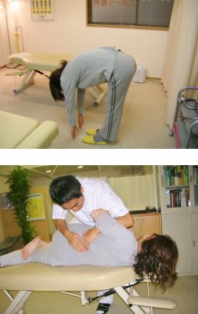 立位体前屈(上)、腰椎の回旋矯正(下)