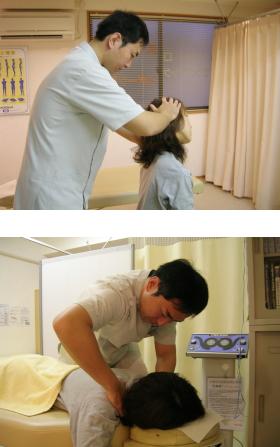 頚椎のモーションパルペーション(上)、頚椎の矯正(下)