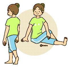 ストレッチをする女性のイラスト