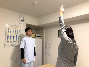 肩の可動域検査
